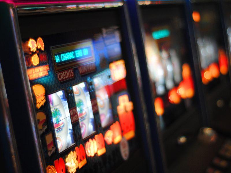Focused shot of old school slot machine